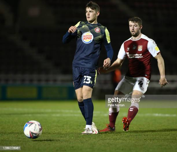 Jack Smith of Stevenage in action during the Papa John's Trophy match between Northampton Town and Stevenage at PTS Academy Stadium on November 17...