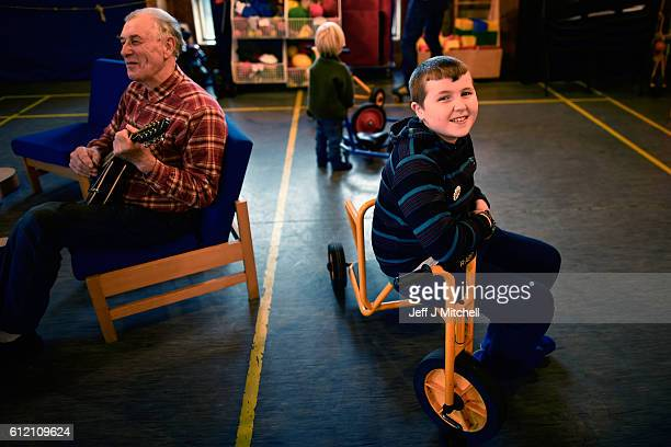 Jack Smith the only school child on the Island of Foula plays during the primary school coffee morning on September 30 2016 in Foula Scotland Foula...
