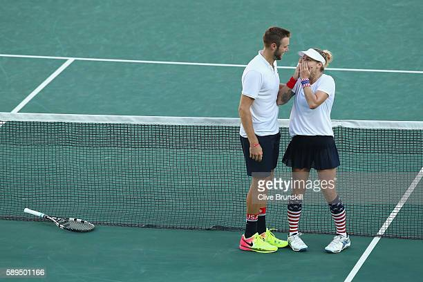 Jack Sock and Bethanie MattekSands of the United States celebrate victory in the mixed doubles gold medal match against Rajeev Ram and Venus Williams...