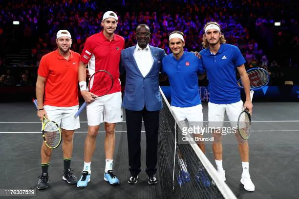 Jack Sock and John Isner of Team World and Roger Federer and Stefanos Tsitsipas of Team Europe pose for a photo with Tidjane Thiam CEO of Credit...