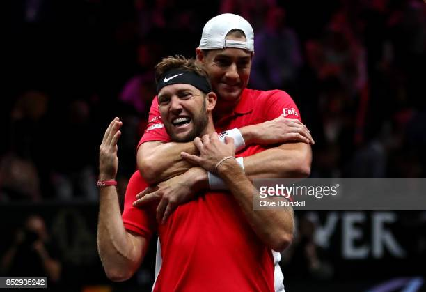 Jack Sock and John Isner of Team World celebrate winning match point during there mens doubles match between Tomas Berdych and Marin Cilic of Team...