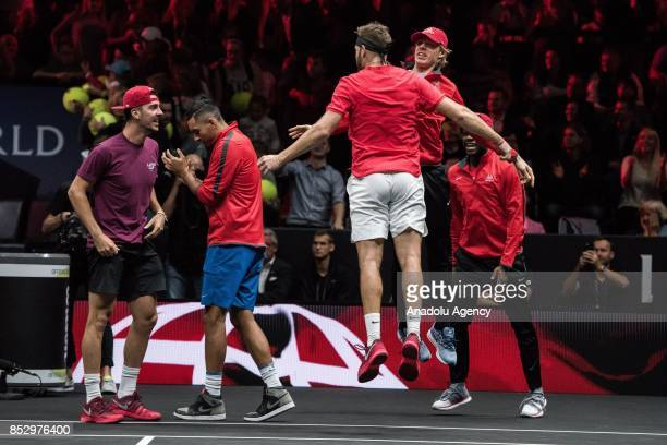 Jack Sock and John Isner of the Team World celebrate their victory against Czech Republic's Tomas Berdych and Croatian Marin Cilic of the Team Europe...