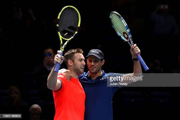 Jack Sock and Mike Bryan of The United States celebrate victory following thier doubles final against PierreHugues Herbert and Nicolas Mahut of...