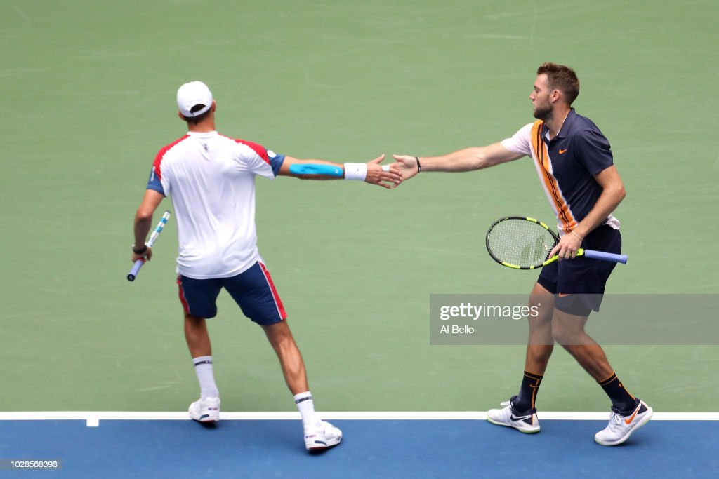 Jack Sock and Mike Bryan of The United States during the men's doubles final against Lukasz Kubot of Poland and Marcelo Melo of Brazil on Day Twelve of the 2018 US Open at the USTA Billie Jean King National Tennis Center on September 7, 2018 in the Flushing neighborhood of the Queens borough of New York City.