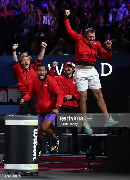 Jack Sock and Nick Kyrgios of Team World celebrates in the singles match between Dominic Thiem of Team Europe and Taylor Fritz of Team World during...