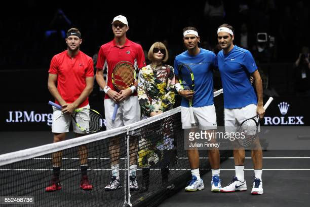 Jack Sock and Sam Querrey of Team World and Roger Federer and Rafael Nadal line up with Anna Wintour ahead of there doubles match against Roger...
