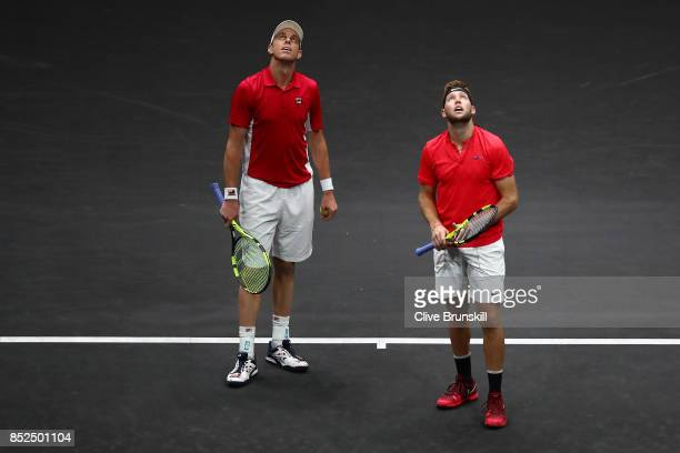 Jack Sock and Sam Querrey of Team World react during there doubles match against Roger Federer and Rafael Nadal of Team Europe on Day 2 of the Laver...