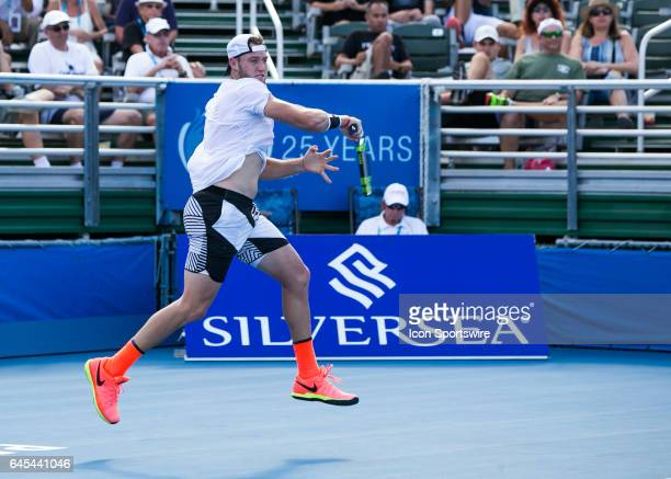 Jack Sock defeats Donald Young during the Semifinals of the ATP Delray Beach Open on February 25 at the Delray Beach Stadium Tennis Center in Delray...