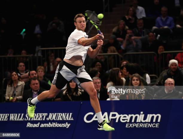 Jack Sock of Team Americas returns a shot against Nick Kyrgios of Team World in their Men's Singles match during the BNP Paribas Showdown at Madison...