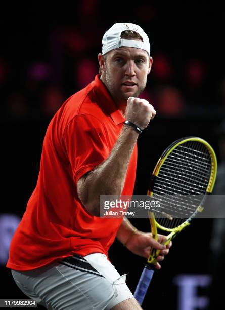 Jack Sock of Team World celebrates in his singles match against Fabio Fognini of Team Europe during Day One of the Laver Cup 2019 at Palexpo on...