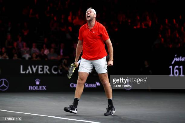 Jack Sock of Team World celebrates match point in his singles match against Fabio Fognini of Team Europe during Day One of the Laver Cup 2019 at...