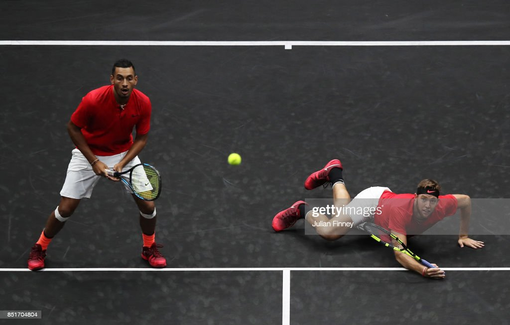 Jack Sock of Team World hits a volley playing with Nick Kyrgios during there doubles match against Tomas Berdych and Rafael Nadal of Team Europe on the first day of the Laver Cup on September 22, 2017 in Prague, Czech Republic. The Laver Cup consists of six European players competing against their counterparts from the rest of the World. Europe will be captained by Bjorn Borg and John McEnroe will captain the Rest of the World team. The event runs from 22-24 September.