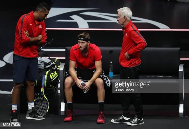 Jack Sock of Team World Nick Kyrgios of Team World and John Mcenroe Captain of Team World during his singles match against Rafael Nadal of Team...