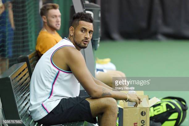 Jack Sock of Team World speaks with team mate Nick Kyrgios during a practice session prior to the Laver Cup at the United Center on September 18 2018...