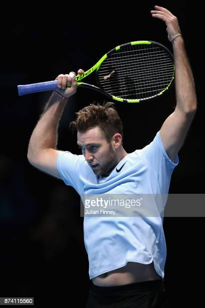 Jack Sock of The United States celebrates during the singles match against Marin Cilic of Croatia on day three of the Nitto ATP World Tour Finals at...