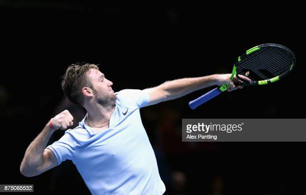 Jack Sock of The United States celebrates victory during the singles match against Alexander Zverev of Germany on day five of the 2017 Nitto ATP...
