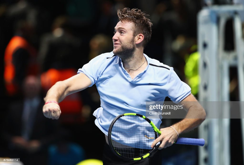Jack Sock of the United States celebrates victory in his Singles match against Alexander Zverev of Germany during day five of the Nitto ATP World Tour Finals at O2 Arena on November 16, 2017 in London, England.