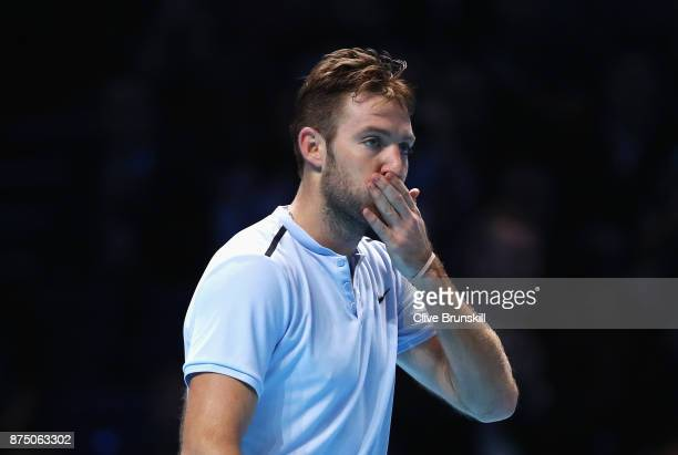 Jack Sock of the United States celebrates victory in his Singles match against Alexander Zverev of Germany during day five of the Nitto ATP World...