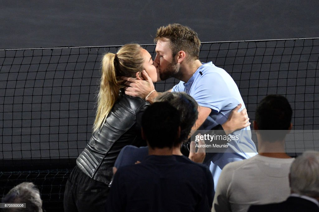 Jack Sock of the United States kises his girlfriend Michela Burns after winning the men's singles final match against Filip Krajinovic of Serbia during day seven of the Rolex Paris Masters at Palais Omnisports de Bercy on November 5, 2017 in Paris, France.
