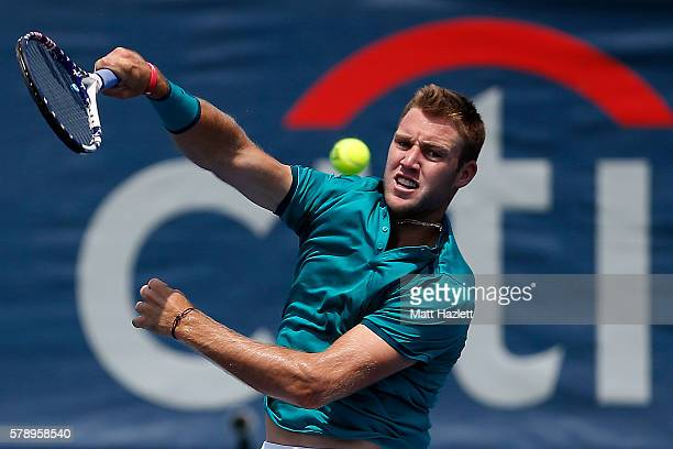 Jack Sock of the United States of America serves to Ivo Karlovic of Croatia during day 5 of the Citi Open at Rock Creek Tennis Center on July 22 2016...