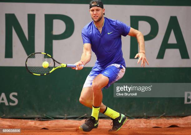 Jack Sock of The United States plays a forehand during the mens singles first round match against Jiri Vesely of The Czech Republic on day two of the...