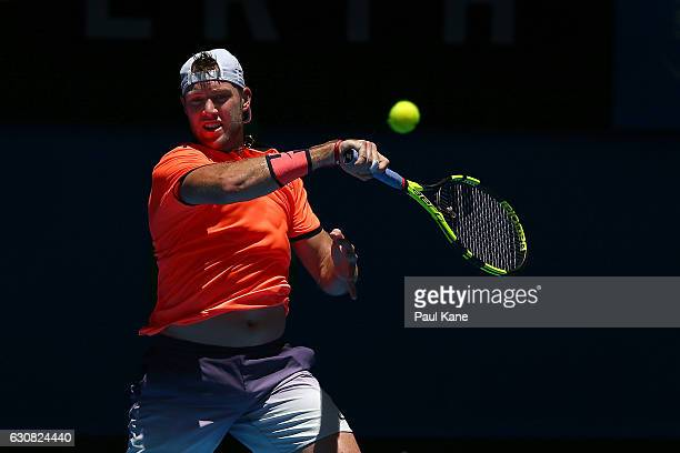 Jack Sock of the United States plays a forehand to Feliciano Lopez of Spain during the men's singles match on day three of the 2017 Hopman Cup at...