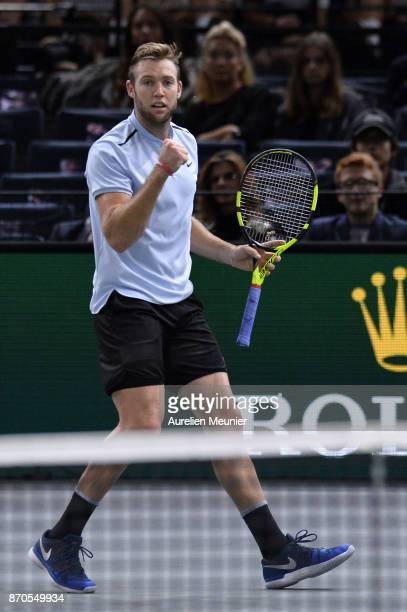 Jack Sock of the United States reacts in the men's singles final match against Filip Krajinovic of Serbia during day seven of the Rolex Paris Masters...