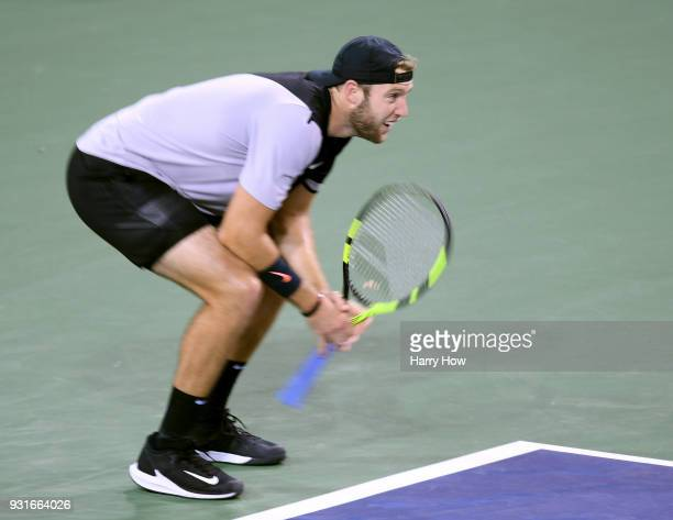 Jack Sock of the United States reacts to a lost point in his match against Feliciano Lopez of Spain during the BNP Paribas Open at the Indian Wells...