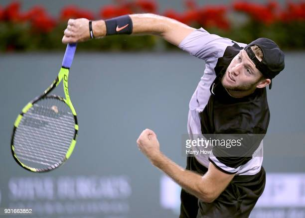 Jack Sock of the United States serves in his match against Feliciano Lopez of Spain during the BNP Paribas Open at the Indian Wells Tennis Garden on...