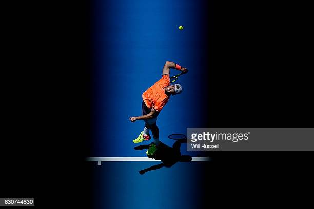 Jack Sock of the United States serves to Adam Pavlasek of the Czech Republic during their match on day one of the 2017 Hopman Cup at Perth Arena on...