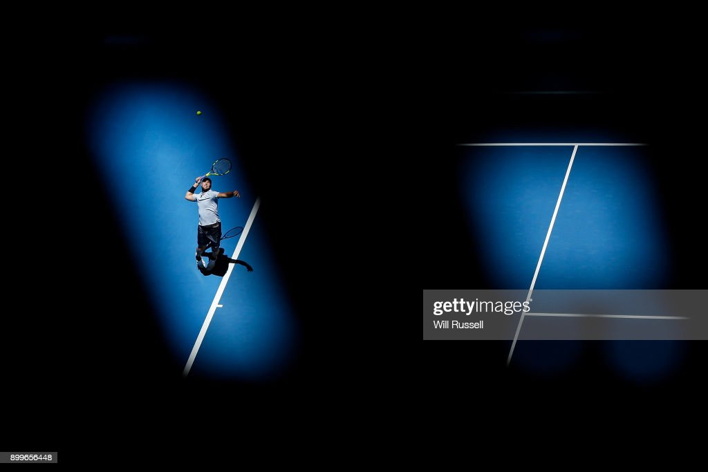 Jack Sock of the United States serves to Karen Khachanov of Russia in the mens singles match of the 2018 Hopman Cup at Perth Arena on December 30, 2017 in Perth, Australia.