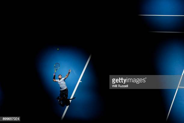 Jack Sock of the United States serves to Karen Khachanov of Russia in the mens singles match on day one of the 2018 Hopman Cup at Perth Arena on...