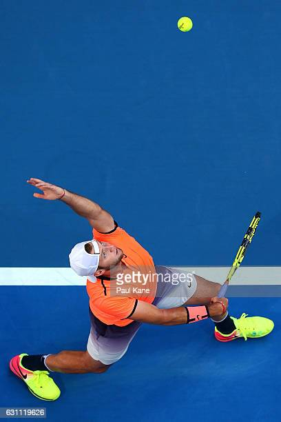 Jack Sock of the United States serves to Richard Gasquet of France in the men's singles match during the 2017 Hopman Cup Final at Perth Arena on...