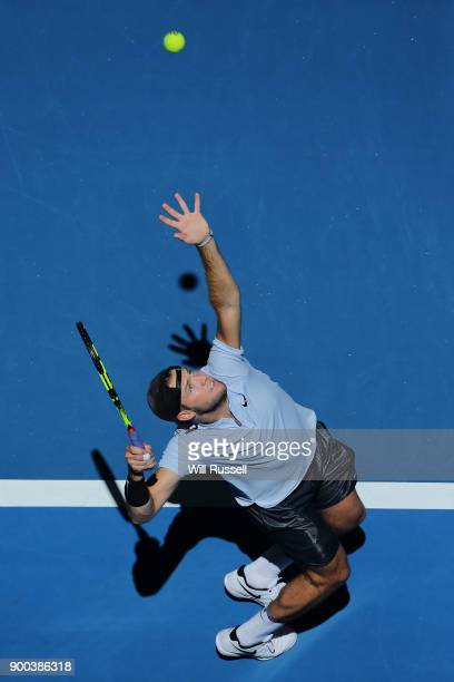 Jack Sock of the United States serves to Yuichi Sugita of Japan in the mens singles match on Day Four of the 2018 Hopman Cup at Perth Arena on...