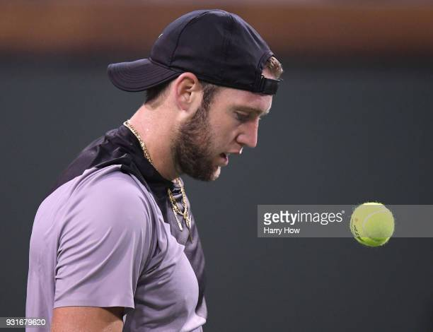 Jack Sock of the United States watches the ball bounce in his loss to Feliciano Lopez of Spain during the BNP Paribas Open at the Indian Wells Tennis...