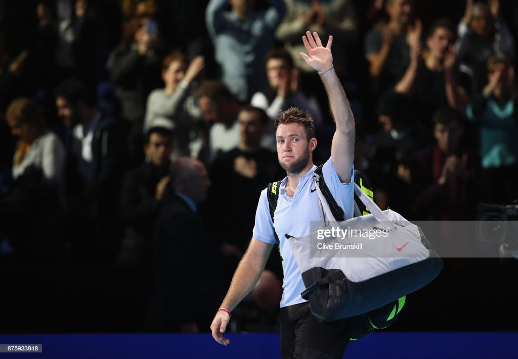 Jack Sock of the United States waves goodbye to the crowd after his three set defeat in his semi final match by Grigor Dimitrov of Bulgaria at the Nitto ATP World Tour Finals at O2 Arena on November 18, 2017 in London, England.