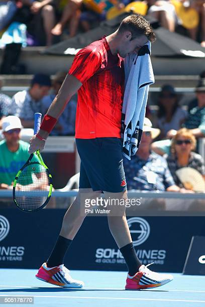 Jack Sock of the USA before retiring sick in his singles final against Roberto Bautista Agut of Spain on day six of the ASB Classic at the Stanley...