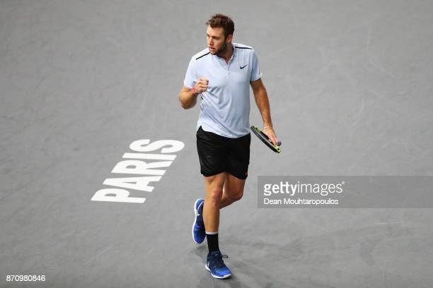 Jack Sock of the USA celebrates a point against Filip Krajinovic of Serbia during the Mens Final on day 7 of the Rolex Paris Masters held at the...