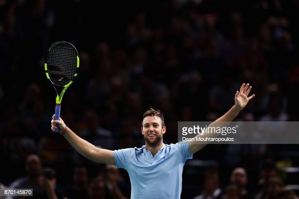 Jack Sock of the USA celebrates after victory against Julien Benneteau of France during the semi finals on day 6 of the Rolex Paris Masters held at...