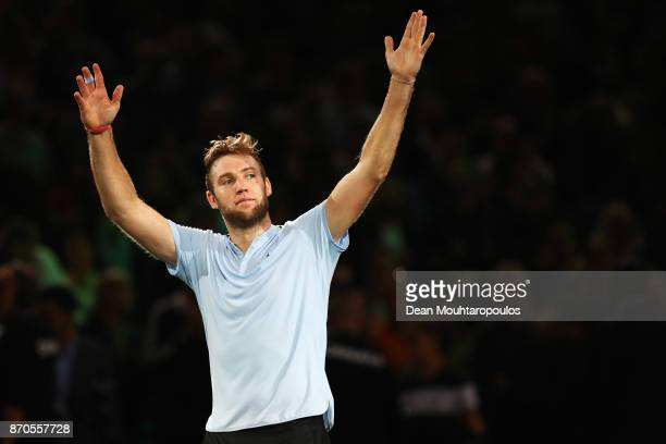 Jack Sock of the USA celebrates match point after victory against Filip Krajinovic of Serbia in the Mens Final on day 7 of the Rolex Paris Masters...