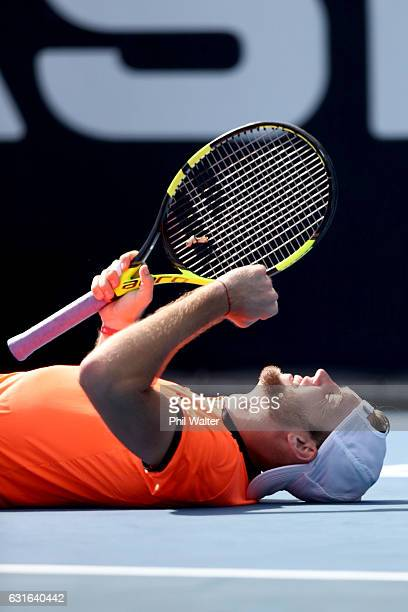 Jack Sock of the USA celebrates winning the mens singles final between Jack Sock of the USA and Joao Sousa of Portugal on day 13 of the ASB Classic...