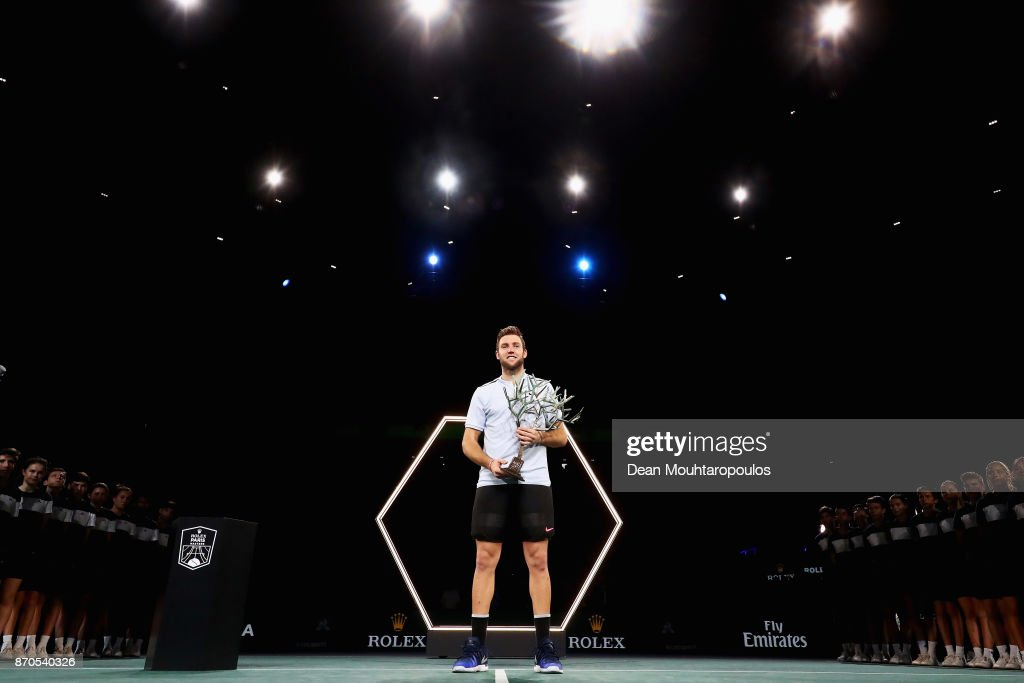 Jack Sock of the USA celebrates with the trophy after victory against Filip Krajinovic of Serbia in the Mens Final on day 7 of the Rolex Paris Masters held at the AccorHotels Arena on November 5, 2017 in Paris, France.