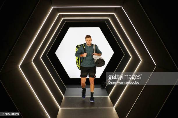 Jack Sock of the USA is pictured prior to his match against Filip Krajinovic of Serbia in the Mens Final on day 7 of the Rolex Paris Masters held at...