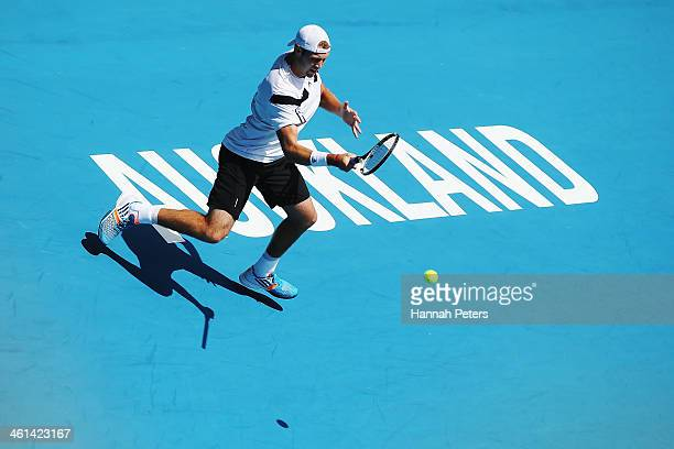 Jack Sock of the USA plays a forehand against Roberto Bautista Agut of Spain during day four of the Heineken Open at ASB Tennis Centre on January 9...
