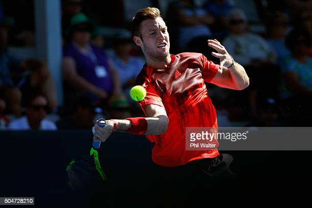 Jack Sock of the USA plays a forehand against Vasek Pospisil of Canada on Day 3 of the ASB Classic on January 13 2016 in Auckland New Zealand