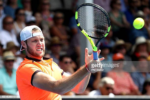 Jack Sock of the USA plays a forehand during the mens singles final between Jack Sock of the USA and Joao Sousa of Portugal on day 13 of the ASB...