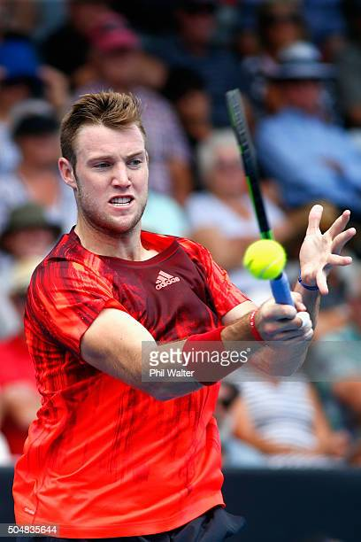 Jack Sock of the USA plays a forehand in his singles match against Kevin Anderson of South Africa during the 2016 ASB Classic at the ASB Tennis Arena...