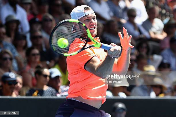 Jack Sock of the USA plays a return during the mens singles final between Jack Sock of the USA and Joao Sousa of Portugal on day 13 of the ASB...