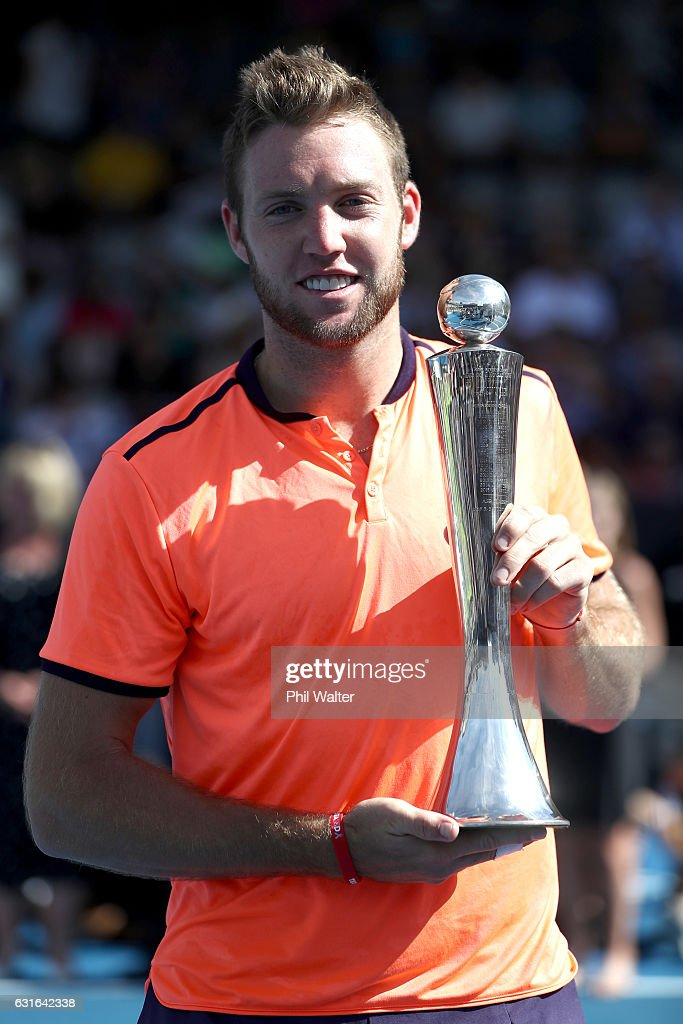 Jack Sock of the USA poses with the trophy following the mens singles final between Jack Sock of the USA and Joao Sousa of Portugal on day 13 of the ASB Classic on January 14, 2017 in Auckland, New Zealand.