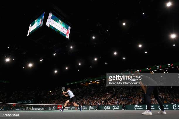 Jack Sock of the USA returns a backhand against Filip Krajinovic of Serbia during the Mens Final on day 7 of the Rolex Paris Masters held at the...